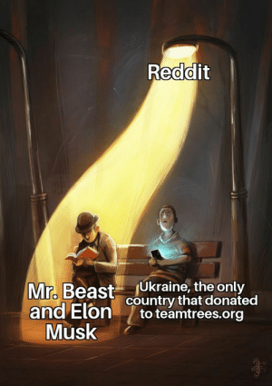 Can we just appreciate everyone equally?: Reddit  Ukraine, the only  country that donated  to teamtrees.org  Mr. Beast  and Elon  Musk Can we just appreciate everyone equally?