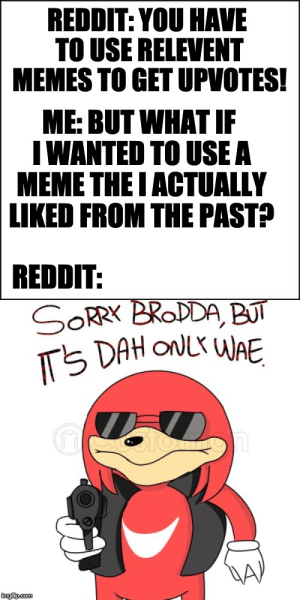 Meme, Memes, and Reddit: REDDIT: YOU HAVE  TO USE RELEVENT  MEMES TO GET UPVOTES!  ME: BUT WHAT IF  I WANTED TO USE A  MEME THE I ACTUALLY  LIKED FROM THE PAST?  REDDIT:  SORR BRODDA, BUT  TS DAH ONLY WAE  imgfip.com Can't I post about memes i actually liked in the past?