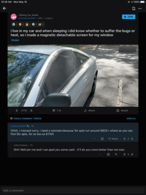 Redditor helps someone sleeping in car rent a home: Redditor helps someone sleeping in car rent a home