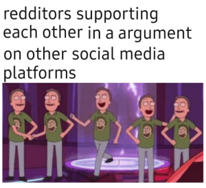 Me_irl: redditors supporting  each other in a argument  on other social media  platforms Me_irl
