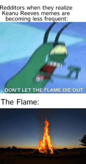 Memes, Reddit, and Dank Memes: Redditors when they realize  Keanu Reeves memes are  becoming less frequent:  DON'T LET THE FLAME DIE OUT  The Flame: Reddit Right Now
