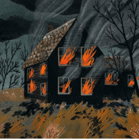 redlipstickresurrected: Becca Stadtlander aka BeccaStadtlander (American, b. Covington, KY, based Newport, RI, USA) - House Fire  Paintings: Gouache, Ink: redlipstickresurrected: Becca Stadtlander aka BeccaStadtlander (American, b. Covington, KY, based Newport, RI, USA) - House Fire  Paintings: Gouache, Ink