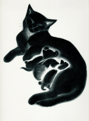 redlipstickresurrected: Clare Turlay Newberry aka Clare Newberry Trujíllo (American, 1903-1970, b. Enterprise, OH, USA) - Sheba and her three kittens, Butch, Brenda and Charcoal from the book, April's Kittens, 1940, Paintings: redlipstickresurrected: Clare Turlay Newberry aka Clare Newberry Trujíllo (American, 1903-1970, b. Enterprise, OH, USA) - Sheba and her three kittens, Butch, Brenda and Charcoal from the book, April's Kittens, 1940, Paintings