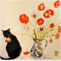 Paintings, Tumblr, and Black: redlipstickresurrected:  Dame Elizabeth Violet Blackadder aka Mrs Houston aka Elizabeth Blackadder aka Dame Elizabeth V. Blackadder (Scottish, b. 1931, Falkirk, Scotland) - Black Cat with Poppies  Paintings: Watercolors