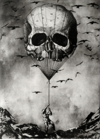 Tumblr, Blog, and Http: redlipstickresurrected:  Jaco Putker (Dutch, b. The Hague, Netherlands) - The Man And The Balloon, 2013 Printmaking: Etching and Aquatint on Paper