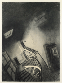 Tumblr, Blog, and Drawings: redlipstickresurrected:Sam Szafran aka Samuel Berger (French, b. 1934, Paris, France) - Anamorphic Staircase, nd  Drawings: Charcoal on Paper