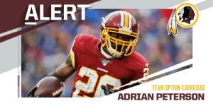 .@Redskins exercise 2020 club option on RB @AdrianPeterson. https://t.co/bacoy6NpSU: .@Redskins exercise 2020 club option on RB @AdrianPeterson. https://t.co/bacoy6NpSU