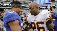 Memes, Washington Redskins, and Time: REDSKINS The first time @AdrianPeterson met @saquon on the field?  Even HE was impressed.  Volume up. (via @NFLFilms) https://t.co/miNr2kaAHG