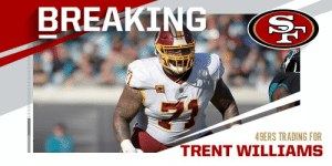 Redskins trading OT Trent Williams to 49ers for 2020 fifth-round pick and 2021 third-round pick. (via @TomPelissero + @MikeGarafolo + @RapSheet) https://t.co/shk3m8fXpe: Redskins trading OT Trent Williams to 49ers for 2020 fifth-round pick and 2021 third-round pick. (via @TomPelissero + @MikeGarafolo + @RapSheet) https://t.co/shk3m8fXpe