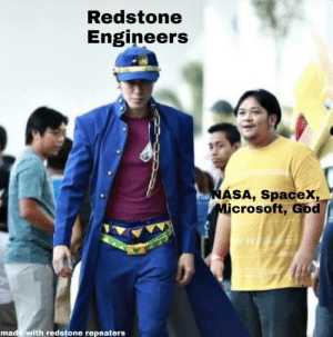 MumboJumbo redstone god: Redstone  Engineers  NASA, Spacex,  Microsoft, God  made with redstone repeaters MumboJumbo redstone god