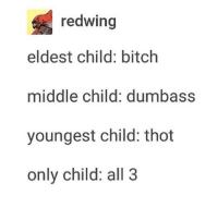 Bitch, Thot, and True: redwing  eldest child: bitch  middle child: dumbass  youngest child: thot  only child: all 3 confirm is this true