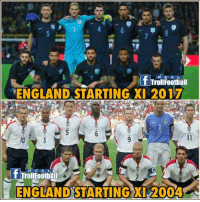 REE A L  f Troll Football  ENGLAND STARTING XI 2017  3  R E A L  ENGLAND STARTING XI 2004 How Time changed