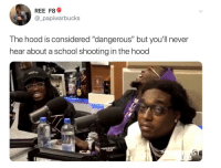 "Definitely, Gif, and School: REE F8  @_papiwarbucks  The hood is considered ""dangerous"" but you'll never  hear about a school shooting in the hood  OLT <p><a href=""http://lastsonlost.tumblr.com/post/170695088642/luvleelinna-you-dont-hear-about-about-it-but"" class=""tumblr_blog"">lastsonlost</a>:</p>  <blockquote><p><a href=""https://luvleelinna.tumblr.com/post/170686262498/you-dont-hear-about-about-it-but-they-definitely"" class=""tumblr_blog"">luvleelinna</a>:</p>  <blockquote><p>You don't hear about about it, but they definitely happen in the hood. Like 9 times out of 10 it's usually a person that's been targeted, never like a mass school shooter, but a specified individual and innocent ppl hit with stray bullets. </p></blockquote>  <figure class=""tmblr-full"" data-orig-height=""160"" data-orig-width=""500""><img src=""https://78.media.tumblr.com/6a3afee2d8daf3abb71ceb0a6768bb78/tumblr_inline_p3wjbu4wzf1sp5650_500.gif"" data-orig-height=""160"" data-orig-width=""500""/></figure></blockquote>"