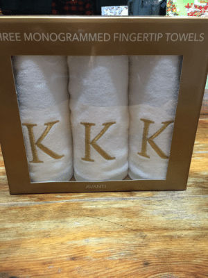 Wedding, How, and Name: REE MONOGRAMMED FINGERTIP TOWELS  KK  K  AVANTI Wedding gift. Our last name starts with K. How did this pass QA?