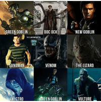 Facts, Meme, and Memes: REEN GOBLIN  DOC OCK  NEW GOBLIN  IG I @CINFACTS  CINEMA  FACTS  SANDMAN  VENOM  THE LIZARD  ELECTRO  EEN-GOBLIN  VULTURE |- which one was best? via @cinfacts -| - - - - marvel marveluniverse dccomics marvelcomics dc comics hero superhero villain xmen spidermanhomecoming xmenapocalypse mu mcu doctorstrange spiderman deadpool meme captainamerica ironman teamcap teamstark teamironman civilwar captainamericacivilwar marvelfact marvelfacts fact facts homecoming