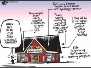 Facebook, Internet, and Memes: Reference libtarian  helping senior citizen  -with' 9enealogy research  Fami  Savi  mone b  using  Teens at an  after-School  internet  to appl  obs  HMPH!  WHY  Connection  orrowi  am  and  DVDs insteadand  J°  of buy  EVEN  NEED  LIBRARIES  ANYMORE?  the  RENOVATED  Branch Library  Kids  Signing up  o Summer  --reading program  ESEJ! Join us: facebook.com/unitedhumanists