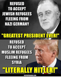 """Dispropaganda.com: REFUSED  TO ACCEPT  JEWISH REFUGEES  FLEEING FROM  NAZI GERMANY  """"GREATEST PRESIDENT EVER!""""  REFUSED  TO ACCEPT  MUSLIM REFUGEES  FLEEING FROM  SYRIA  LITERALLY HITLER!""""  DISPROPAGANDA.COM Dispropaganda.com"""