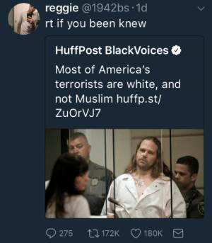 Muslim, Reggie, and White: reggie @1942bs 1d  rt if you been knew  HuffPost BlackVoices  Most of America's  terrorists are white, and  not Muslim huffp.st/  ZuOrVJ7  AIL  275  172K 180K I been knew
