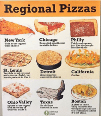 Chicago, Detroit, and Fire: Regional Pizzas  New York  Chicago  Philly  Thin crust topped  with cheese  Peepadiahsmethered ich and e naarsi,  Thick and square  ust like the people  who live there  in mafia bribes  St. Louis  Terrible crust covered  with shame. Awful, but  locals pretend to likeit  Detroit  American tire  covered in cheese  California  On fire.  Ohio Valley Texas  Boston  Square crust topped  with the tearso  whoever made it  A plate of tacos.  They followed the  wrong recipe and are  too stubborn to admit  it's not pizza.  An old boot  covered in ants  obvious  plant Quick guide to regional pizzas.