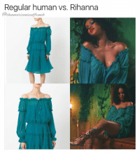 Rihanna gives life to everything (for those who asked, this dress is from Alberta Ferretti's Spring 2017 collection and she is also wearing the Poison Ivy gladiator sandals from her collection with Manolo Blahnik 😍): Regular human vs. Rihanna  theamericaniedfrench Rihanna gives life to everything (for those who asked, this dress is from Alberta Ferretti's Spring 2017 collection and she is also wearing the Poison Ivy gladiator sandals from her collection with Manolo Blahnik 😍)