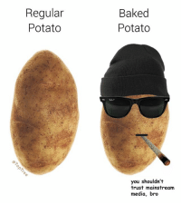 Regular  Potato  Baked  Potato  0  you shouldn't  trust mainstream  media, bro Know the difference, it could save your life 🥔 (made for @toptree 👉🏼 follow @sean_speezy and @toptree)
