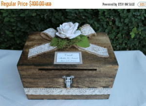 Advice, Beautiful, and Tumblr: Regular Price $I0000use  Powered by ETSY ON SALE EOS handmadegift-ideas:    Rustic wedding card box. a beautiful addition to your table for cards wishes or advice. A great memory box to keep your wishes or cards after the wedding is over. This is a one of a kind design but we can customize for you.
