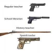 Memes, School, and Spanish: Regular teacher  School librarian  History teacher  Spanish teacher How it be if school teachers were granted rights to be armed to protect students 😂 MexicansProblemas