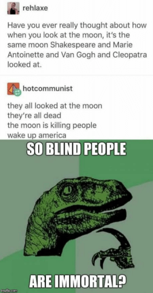 America, Dank, and Illuminati: rehlaxe  Have you ever really thought about how  when you look at the moon, it's the  same moon Shakespeare and Marie  Antoinette and Van Gogh and Cleopatra  looked at.  hotcommunist  they all looked at the moon  they're all dead  the moon is killing people  wake up america  SO BLIND PEOPLE  ARE IMMORTAL?  imgflip.com IM HIDING FROM THE ILLUMINATI NOW by CIean FOLLOW 4 MORE MEMES.