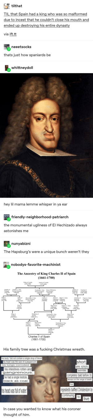 """Spanish History: 30 Times Tumblr Accidentally Taught Me Something While Making Me Laugh: REI  TILtilthat  I L  TIL that Spain had a king who was so malformed  due to incest that he couldn't close his mouth and  ended up destroying his entire dynasty  via ift.tt  neeetsocks  thats just how spaniards be  whittneydoll  hey lil mama lemme whisper in ya ear  friendly-neighborhood-patriarch  the monumental ugliness of El Hechizado always  astonishes me  nunyabizni  The Hapsburg's were a unique bunch weren't they  nobodys-favorite-machinist  The Ancestry of King Charles II of Spain  (1661-1700)  Philip of Castile  (1478-1505)  Joanna of Castile  (1479-1555)  Charles V. Holy  Roman Emperor  (1500-58)  Isabella of  Portugal  (1503-39)  Isabella of  Burgundy  (1501-26  Anna of Bohemia  and Hungary  (1503-47  Ferdinand I, Holy  Roman Emperor  (1503-64)  Christian I  of Denmark  (1481-1559)  Philip  of Spain  (1527-96)  Christina of  Denmark  (1522-90)  Anne of Albert V, Duke  Habsburg of Bavaria  (1528-90) (1528-79)  Mana of  Spain  (1528-1603)  Charles  of Austria  (1540-90)  Maximillan II, Holy  Roman Emperor  (1527-76)  Francis 1, Duke  of Lorraine  (1517-45  Anne of  Austria  (1549-80)  Maria Anna  of Bavaria  (1551-1608)  Renata of  Lorraine  (1544-1602)  William V, Duke  of Bavaria  (1548-1626)  Margarita of  Austria  (1584-1611)  Philip I  of Spain  (1578-1621)  Maria Anna  of Bavaria  Ferdinand II, Holy  Roman Emperor  (1578-1637)  (1574-1616  Maria Anna  of Spain  (1606-46  Philip V  of Spain  (1605-65)  Ferdinand III, Holy  Roman Emperor  (1608-57)  Manana of  Austria  (1634-96  Charles l of Spain  (1661-1700)  His family tree was a fucking Christmas wreath.  his body """"did not contain a single drop of blood  his heart was the size of a peppercorn  short  lame, epileptic  senile  his lungs corroded:  his intestines rotten and  gangrenous;  completely bald before 35  he had a single testicle,  black as coal,  always on the verge of death,  he  repeatedly bafled Christe"""