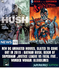 Batman, God, and Memes: REIGN OF THE SUPERMEN  COMICS  RERMAN  NEWS  NEW DC ANIMATED MOVIES, SLATED TO COME  OUT IN 2019 BATMAN HUSH, REIGN OF  SUPERMAN ,JUSTICE LEACUE VS FATAL FIVE  WONDER WOMAN: BLOODLINES  COMIC CON  SUPERHEROES NATION God yes👏 what do you guys think? Blackpanther Mcu Marvel dc dccomics dceu dcu dcrebirth dcnation dcextendeduniverse batman superman manofsteel thedarkknight wonderwoman justiceleague cyborg aquaman martianmanhunter greenlantern venom spiderman infinitywar avengers avengersinfintywar ironman thanos