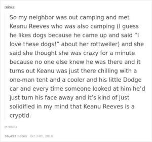 """Crazy, Dogs, and Love: reioka:  So my neighbor was out camping and met  Keanu Reeves who was also camping (I guess  he likes dogs because he came up and said """"I  love these dogs!"""" about her rottweiler) and she  said she thought she was crazy for a minute  because no one else knew he was there and it  turns out Keanu was just there chilling with a  one-man tent and a cooler and his little Dodge  car and every time someone looked at him he'd  just turn his face away and it's kind of just  solidified in my mind that Keanu Reeves is a  cryptid.  reioka  36,495 notes Oct 24th, 2018 Keanu is a cryptid, confirmed"""