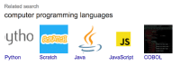 Computer, Java, and Scratch: Related search  computer programming languages  ytho  JS  Python  Scratch  Java  JavaScript COBOL