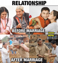 Reality: RELATIONSHIP  BEFORE MARRIAGE  meme  NEPAL  AFTER MARRIAGE Reality