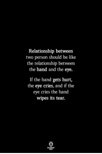 Be Like, Eve, and Eye: Relationship between  two person should be like  the relationship between  the hand and the eye.  If the hand gets hurt,  the eye cries, and if the  eve cries the hand  wipes its tear.  ILES
