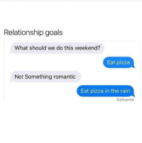 Pizza, Relationships, and Queen: Relationship goals  What should we do this weekend?  Eat pizza  No! Something romantic  Eat pizza in the rain  Delivered Pizza date this week @crazy_bitches_unite @crazy_bitches_unite @crazy_bitches_unite queens_over_bitches