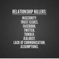 Facebook, Tumblr, and Twitter: RELATIONSHIP KILLERS:  INSECURITY  TRUST ISSUES.  FACEBOOK  TWITTER.  TUMBLR.  EALOUSY  LACK OF COMMUNICATION.  ASSUMPTIONS.