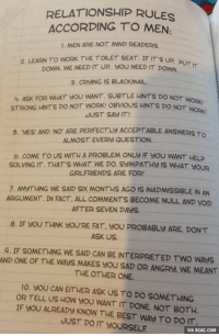 Relationship rules according to men. Gotta need Part 2 of it! http://9gag.com/gag/aX9ErX9?ref=fbp: RELATIONSHIP RULE  ACCORDING TO MEN  1. MEN ARE NOT MIND READERS  2, LEARN TO WORK THE TOILET SEAT. IF IT'S  UP, PUT  DOWN, WE NEED IT UP sou NEED IT DowN  3, CRHING is BLACKMAIL.  4, ASK FOR WHAT you WANT. suBTLE HINTs Do NoT  worki  STRONG HINTS DO NOT WORK! BVIOUS HINTs Do  O  NOT WORK!  JUST SAY IT!  5, yES' AND NO' ARE PERFECTLU ACCEPTABLE RS TO  ALMOST EVERY QUESTION.  b, coME TO US WITH A PROBLEM ONUU IF YOU WANT HELP  SOLVING IT. THAT's WHAT WE DO SEMPATHS IS WHAT you  GIRLFRIENDS ARE FOR!  7, ANUTHING WE SAID SIX MONTHS AGO IS INADMISSIBLE IN AN  ARGUMENT. IN FACT. ALL COMMENTS BECOME NULL AND vorD  AFTER SEVEN DAYS.  8, IF JOU THINK YOU'RE FAT, SOU PROBABLY ARE, DON'T  ASK US.  q, IF SOMETHING WE SAD CAN BE INTERPRETED TWO WAYS.  AND ONE OF THE WAYS MAKES HOU SAD OR ANGRY, WE MEANT  THE OTHER ONE.  no. yoUCANEITHER ASK US TO DO SOMETHING.  OR TELL US HOW OU WANT IT DONE. NOT BOTH.  IF YOU AUREADY KNOW THE BEST WAY TO DO IT  JUST DO IT YOURSELF  VIA 9GAG.COM Relationship rules according to men. Gotta need Part 2 of it! http://9gag.com/gag/aX9ErX9?ref=fbp