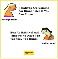 """Memes, 🤖, and Foreigner: Relatives Are Coming  For Dinner, See If You  Can Come  *Foreign Mom  Bua Aa Rahi Hai Aaj,  Time Pe Na Aaya Toh  A  Taangey Tod Dung  *Indian Mom  Bewakoof"""" The difference :p Credits: Pakchikpak Raja Babu (@HaramiParendey)  Revamp now : http://bwkf.shop/View-Collection"""