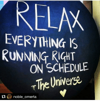 Repost @noble_omerta with @repostapp What I believe my energy is creating ... already believe it to be done 🙏🏾🌀 manifesting: RELAW  EVERYTHING IS  RUNNING RIGHT  ON SCHEDULE  The Universe  ti  noble omerta Repost @noble_omerta with @repostapp What I believe my energy is creating ... already believe it to be done 🙏🏾🌀 manifesting