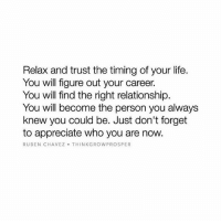 Life, Memes, and Appreciate: Relax and trust the timing of your life.  You will figure out your career.  You will find the right relationship.  You will become the person you always  knew you could be. Just don't forget  to appreciate who you are now.  RUBEN CHAVEZ THINK GROW PROSPER Appreciate who you are now. 👌 Thanks to @thinkgrowprosper Like this if you agree and tag a friend that needs to see this!
