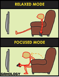 The typical gamer posture ! 😄 Be careful with your back !: RELAXED MODE  FOCUSED MODE  GAMOLOGY The typical gamer posture ! 😄 Be careful with your back !