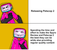 Petscop: Releasing Petscop 2  Spending the time and  effort to make the Spyro  Review and Petscop 2  the best they can be  while also providing  regular quality content