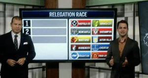 ESPN included Man Utd in their relegation battle discussion 😂😭 https://t.co/EMFWDBH6Pi: RELEGATION RACE  SHEFFIELD UTD  NORWICH CITY  2  NEWCASTLE  SOUTHAMPTON  WATFORD  ASTON VILLA  BOURNEMOUTH  EVERTO  BRIGHTON MAN UN ESPN included Man Utd in their relegation battle discussion 😂😭 https://t.co/EMFWDBH6Pi