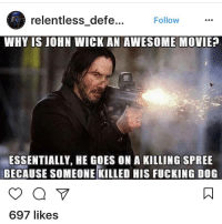 john wick: relentless defe  Follow  WHY IS JOHN WICK AN AWESOME MOVIE?  ESSENTIALLY HE GOES ON A KILLING SPREE  BECAUSE SOMEONE KILLED HIS FUCKING DOG  697 likes