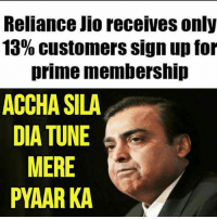 Memes, 🤖, and Dia: Reliance JIO receives only  13% customers sign up for  prime membership  ACCHA SILA  DIA TUNE  MERE  PYAAR KA 😢😢😢😢