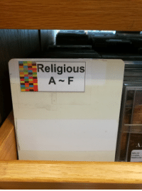 Apparently, Funny, and Music: Religious  RELIG  Crabb,  ReBtore Apparently my library has some extremely religious music.