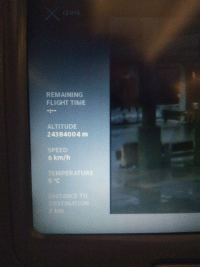 Flight, Time, and Speed: REMAINING  FLIGHT TIME  ALTITUDE  24384004 m  SPEED  6 km/h  TEMPERATURE  5 °C  DISTANCE TO  DESTINATION