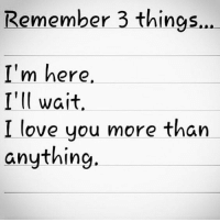 i love you more: Remember 3 things.  I'm here  I'll wait  I love you more than  anything.