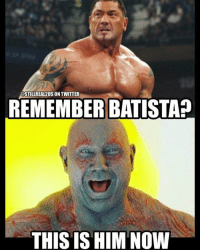 Food, Funny, and Love: REMEMBER BATISTA?  THIS IS HIM NOW Feel old yet? wwe memes jokes wwememes wrestling raw sdlive awesome food njpw roh love laugh haha funny batista drax guardiansofthegalaxy