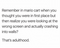 Memes, Nostalgia, and Mario: Remember in mario cart when you  thought you were in first place but  then realize you were looking at the  wrong screen and actually crashing  into walls?  That's adulthood Adulthood in a nutshell 😂 - Follow @nostalgia for posts that remind you of the good old days!